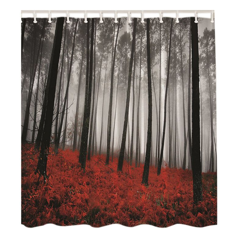 12 Hooks Red Grass Lotus Leaves Rainy Day Waterproof Shower Curtains Bathroom Creative Polyester Bath Curtain