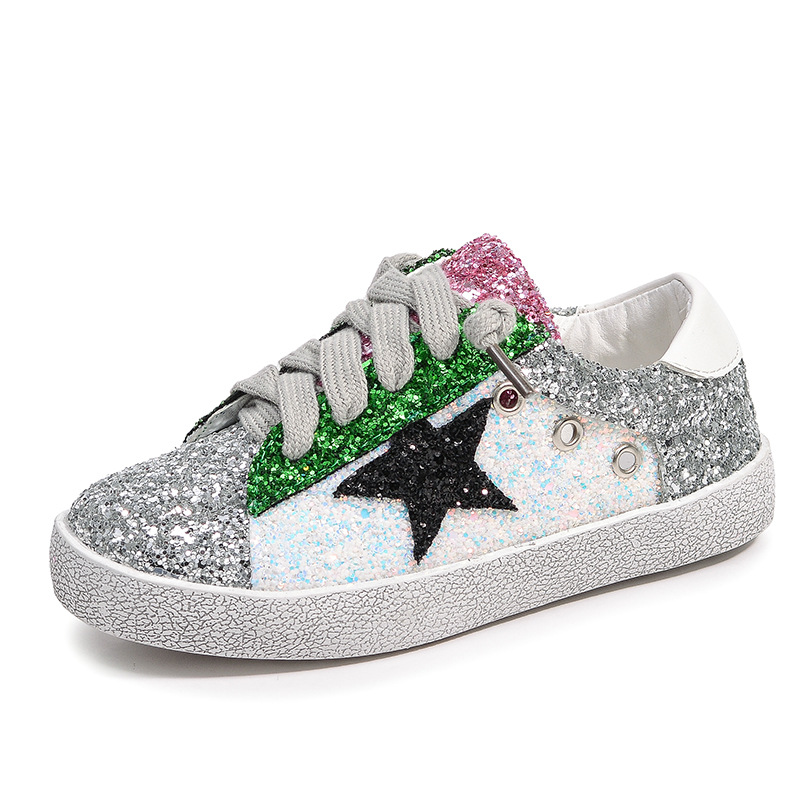 Kids Casual Shoes Girls Boys Sequins Leather Glittler Light Sneakers Canvas Flat Children School Fashion Sport Breathable Spring