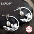 BALMORA Pearl & Flower 100% Pure 925 Sterling Silver Jewelry Retro Stud Earrings for Women Lover Gifts Accessories SY31132