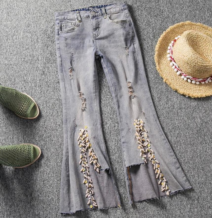 De Cuentas Roto Mujer Longitud Blue 2019 Tobillo Jeans La Agujero Con Cintura Nueva Moda Del Flare Alta Flaco Tencel rFqI1F0