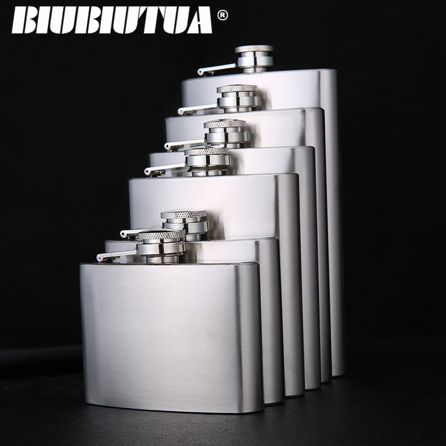 BIUBIUTUA 5 7 8 10 12oz Nerūsējošā tērauda Mini Hip kolba Alkohola viskijs Āra portatīvās kabatas flakoni Alkohola pudele