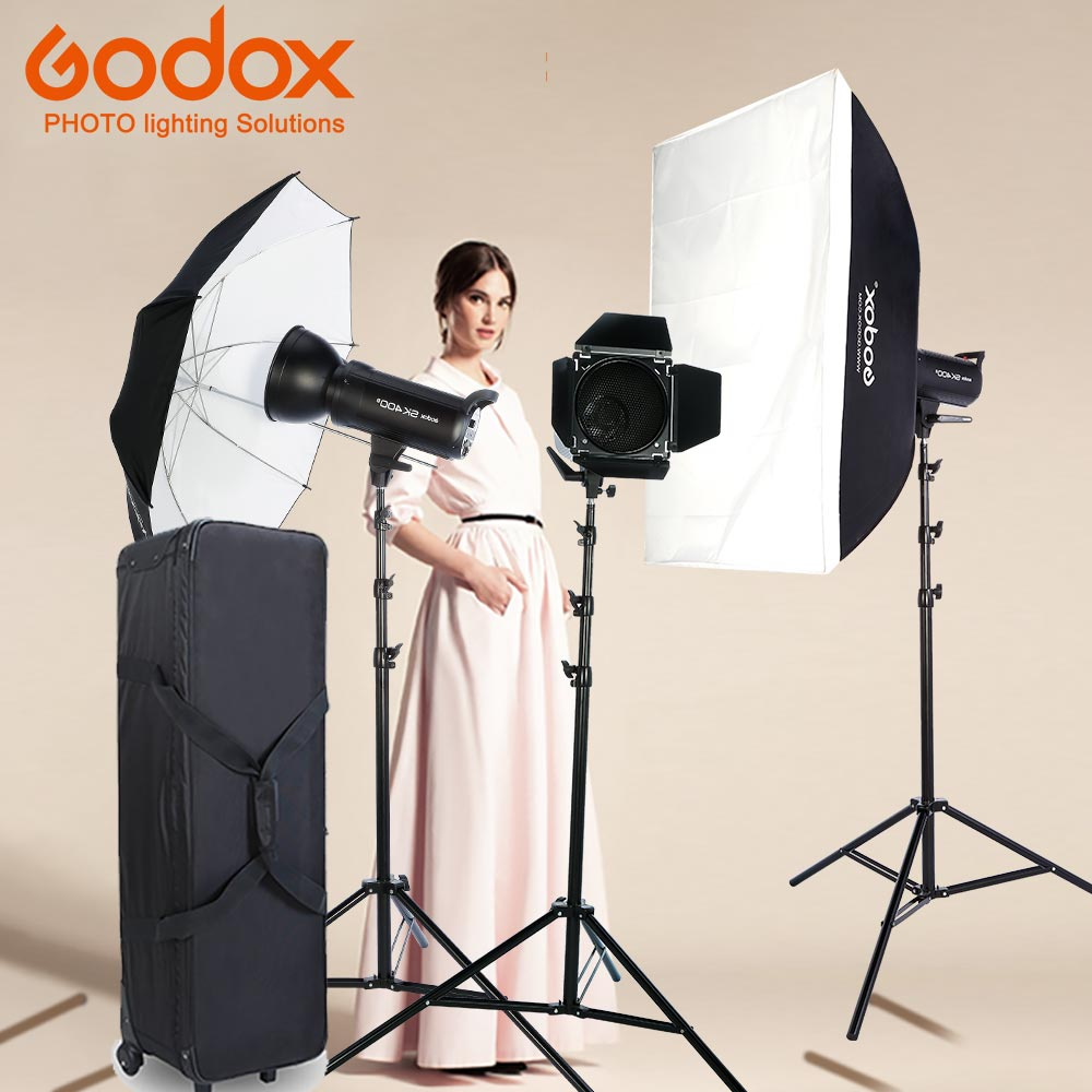Nuevo Godox Photo Studio light 3xDP400II 400WS Flash estroboscópico fotografía Softbox Light Stand Kits para boda, Blogging de alimentos