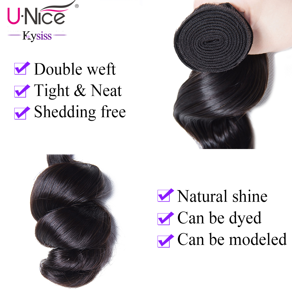 "UNice Hair Kysiss Series  Loose Wave Bundles 16-26""  s  Virgin Hair Bundles 1PCS 5"