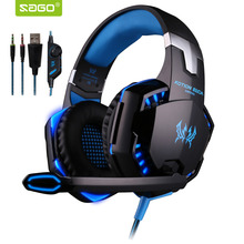 G2000 3 5mm Headphone Gaming Stereo Surrounded Over Ear Headset Gamer PC Headphone with Micphone LED