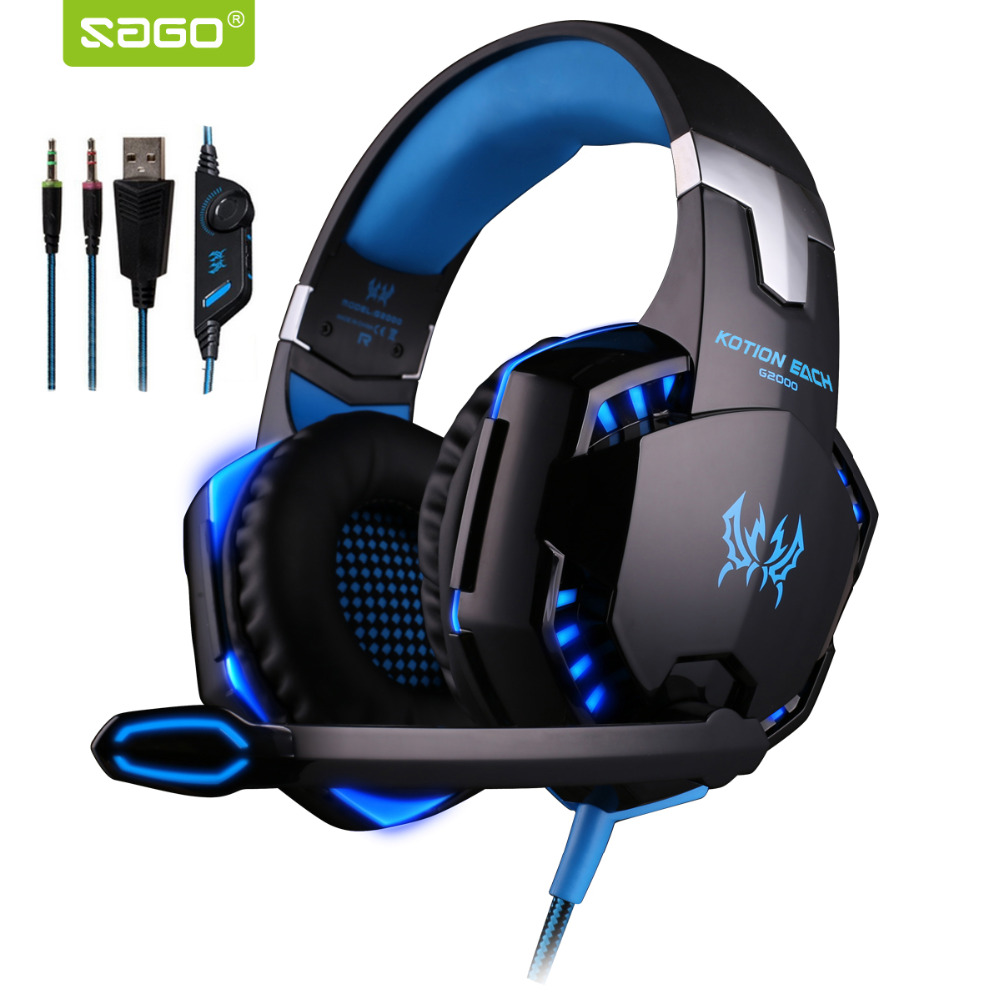G2000 3.5mm Headphone Gaming Stereo Surrounded Over-Ear Headset Gamer PC Headphone with Micphone LED for Computer