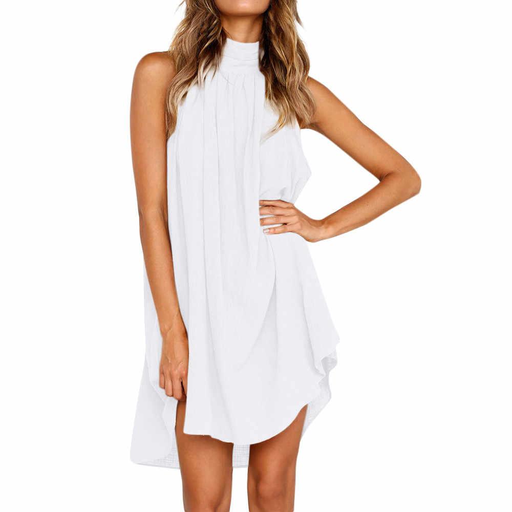 Vestidos verao レディースホリデー不規則な女性の夏のビーチノースリーブパーティーサマードレスの女性の服