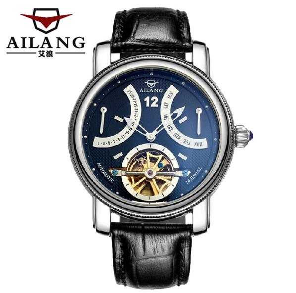 AILANG, новинка, римские мужские многофункциональные турбийон часы, автоматические, заводные, настоящая кожа, наручные часы, неделя, Calendar Relojes W022 - 3