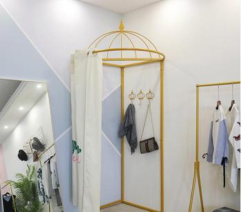 Nordic clothing store fitting room curtain simple golden net red dress shop floor dressing room changing room curtain.