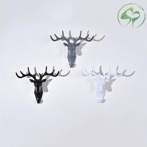 Image 4 - Wand Haken Schlüssel Rack Deer Tier Kopf Geweih Home Hängende Kleidung Hut Schal Haken Hause Wohnzimmer Dekor