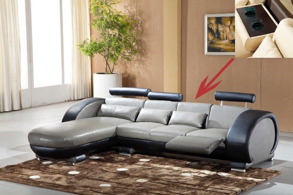 2015 recliner Sofa kulit set Ruang tamu sofa set dengan berbaring kursi 9003 Wich lemari
