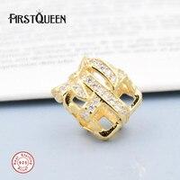 FirstQueen All Wrapped Up, cancella CZ & 14 K Oro Palted Perline Adatto Braccialetti Originali berloques para pulsera Per monili che fanno