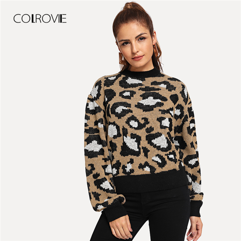 COLROVIE Leopard Print Knitted Sweater 180809448
