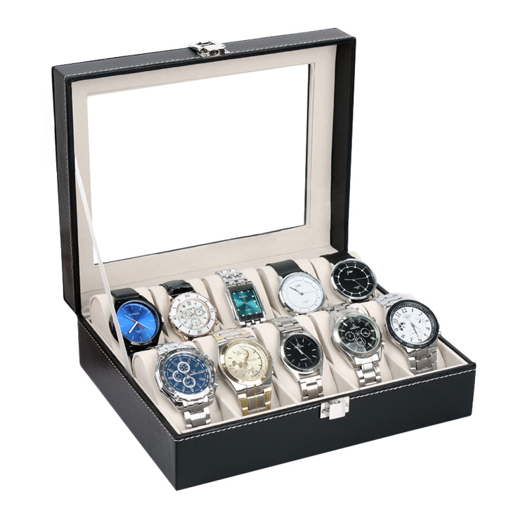 IMC Leather Watch Case Jewelry Display Collection Storage Watch Organizer Box Holder Caixa De Relogios us ...
