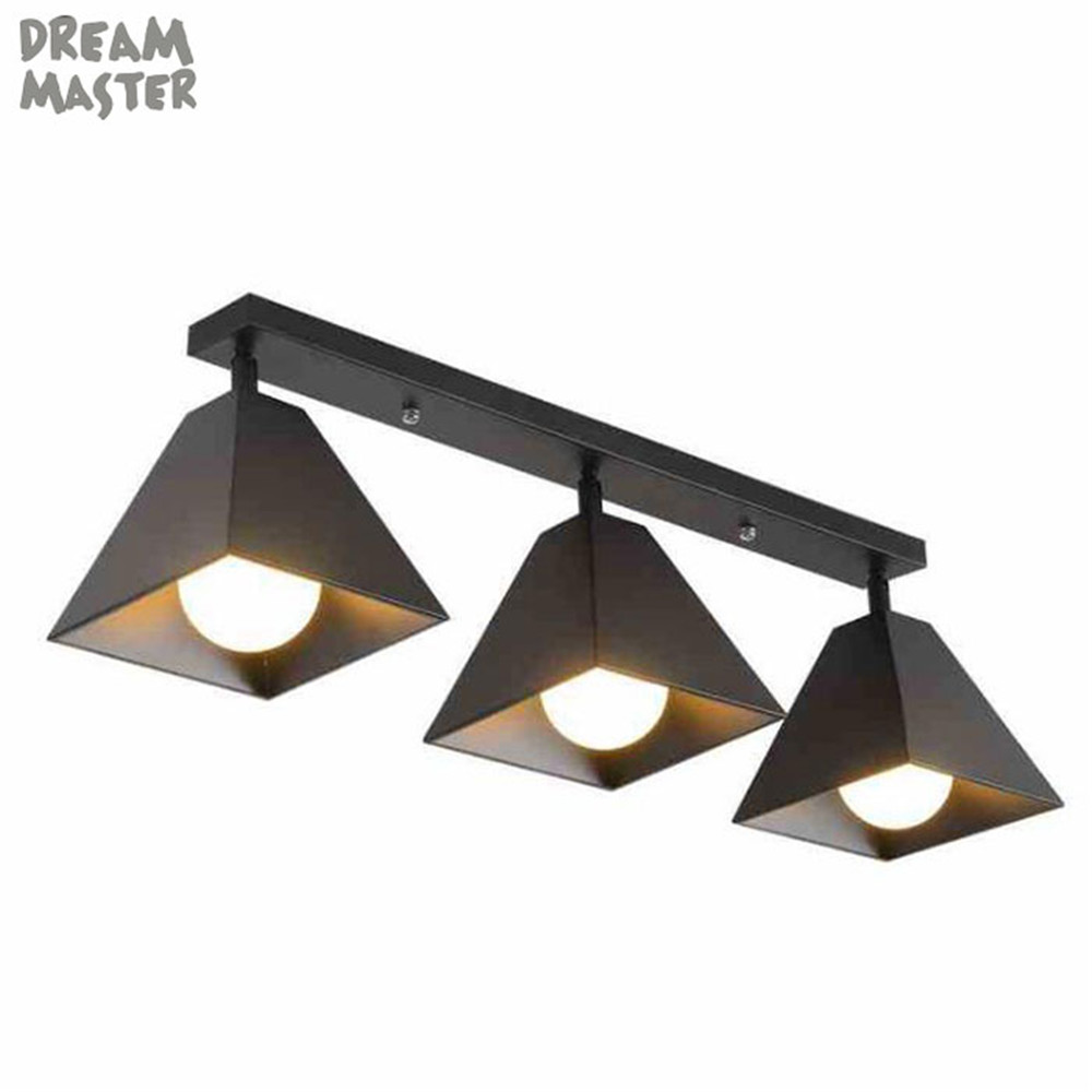 Retro Industrial Loft Nordic Wrought Iron Ceiling Light 1 2 3 Heads Lamp For Home Decor Restaurant Dinning Cafe Bar Room