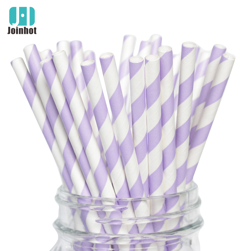 Free Product  25pcs/lot Purple Striped Paper Drinking Straws Creative Drinking Straw Decorations For Wedding