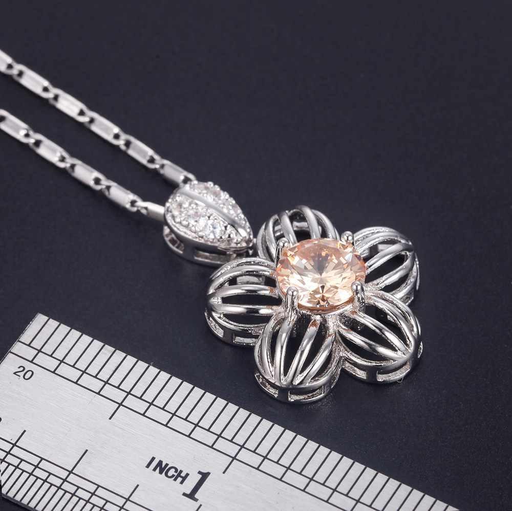 925 תכשיטי כסף סטרלינג סטי תליון שרשרת עגיל צמיד טבעת שמפניה זירקון פתוח טבעת T761 מעוקב Zirconia