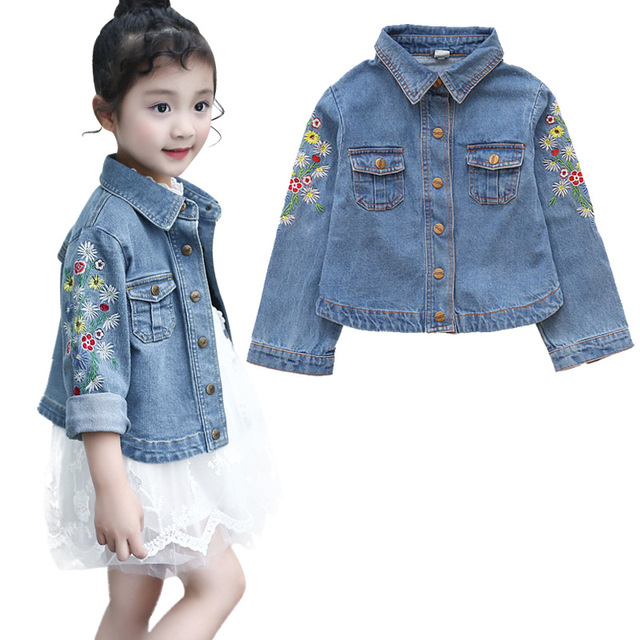 Girls Jackets Hole Cowboy Style Teens Outerwear embroidery Fashion Girls Jackets Coats Children's Clothing Kids Jean Jacket 5