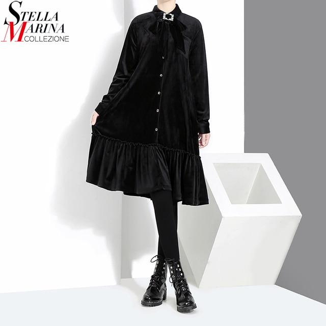 b4a4f7f49a3f33 2018 European Fashion Spring Women Black Velvet Shirt Dress Long Sleeve  Trumpet Style Girls Cute Wear