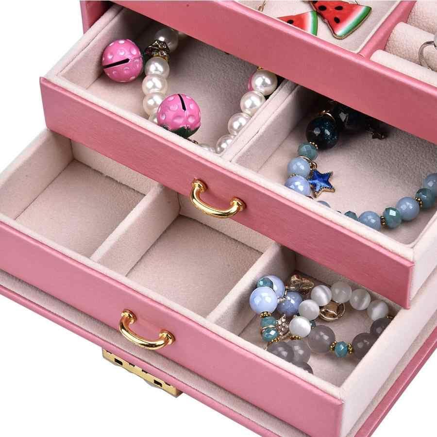 עור מפוצל תכשיטי שעון אחסון תיבת שעון צמיד עגיל עגיל טבעת שרשרת מחזיק ארגונית מקרה מחזיק עבור Jeweler b