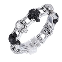 High Quality Punk Harley Jewelry Boys Mens Chain Skull Black Silver Tone Biker Motorcycle Link 316L Stainless Steel Bracelet