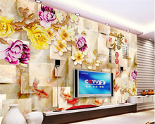 beibehang tapety High aesthetic big wallpaper home and rich Yulan marble box TV background wall papel de parede 3d wallpaper