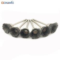 GOXAWEE 100 sztuk dla Dremel szczotka drut mosiężny szczotka krążki polerskie zestaw zestaw dla Dremel narzędzie obrotowe osprzęt elektryczny narzędzia w Szczotka od Narzędzia na