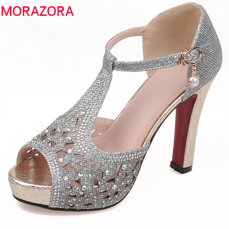 MORAZORA 2018 new arrive women sandals fashion peep toe summer shoes simple buckle sexy thin high heels party wedding shoes morazora 2018 new women sandals summer sweet bowknot comfortable buckle spike high heels platform shoes peep toe shoes woman