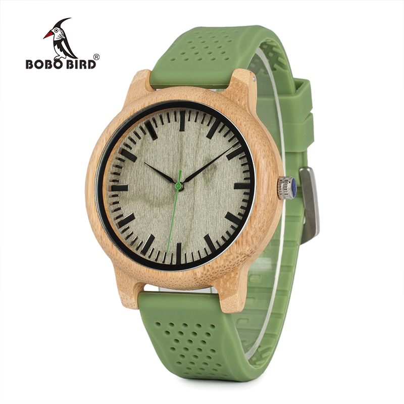 BOBO BIRD B06W Hot Selling Bamboo Wood Watches with Soft Green Silicone Straps Japan Quartz Movement Unisex Watch in Boxes bobo bird bamboo wood quartz watch men women japanese majoy movement soft silicone strap casual ladies watch wristwatch for gift