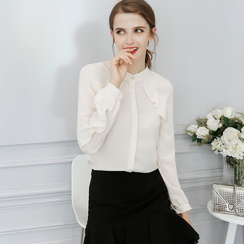 Long Butterfly Sleeves Blusas Office Lady 2019 Ruffles Blouse Women Shirt Tops Sweet Slim Solid Stand Collar Femininas S-2XL