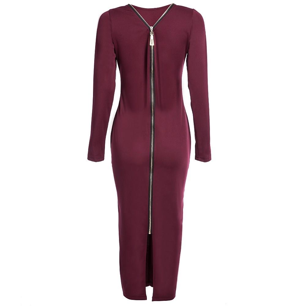 VESTLINDA Plus Size Robe Sexy Femme Midi Sheath Bodycon Dress Long Sleeve Elegant Dresses Women Back Zipper Pencil Tight Dress 21
