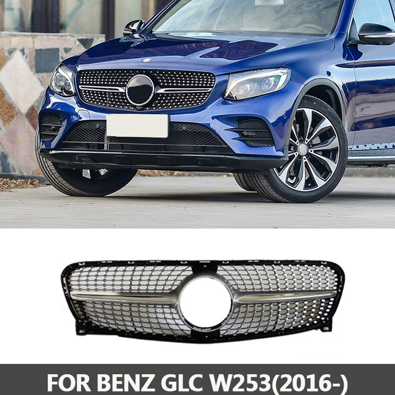 Diamond Grille Suitable for Mercedes Benz GLC silver W253 X253 GLC200 GLC250 GLC300 2016+ GLC Diamond Silver chrome rear bumper trunk door sill plate cover for mercedes x205 glc benz glc200 glc250 glc300 2015 2016