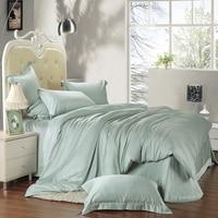 Beans Green Solid Color Duvet Cover Set Super Soft Tencel Silk Fabric Bedding Sets King Queen
