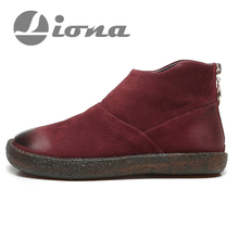 LIONA Women Ankle Boots Genuine Leather Fashion Winter Boots Designer Brand Solid Zip Round Toe Cow Leather Winter Boots