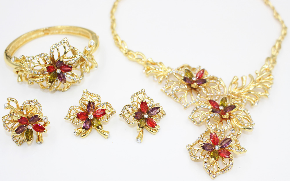 2015 new design fashion jewelry sets filled with 18K gold plated
