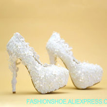 Women Shoes New wedding Pumps White High Heels Bride Shoe Photo Banquets  Lace Flowers Dynamic Three-Dimensional Beads Party 359cdd8708f7