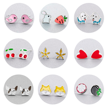 Chereda Cute Drop Glaze  Stud Earring For Children Small Fashion Earrings Girls Birthday Jewelry Gift Femme Simple Present