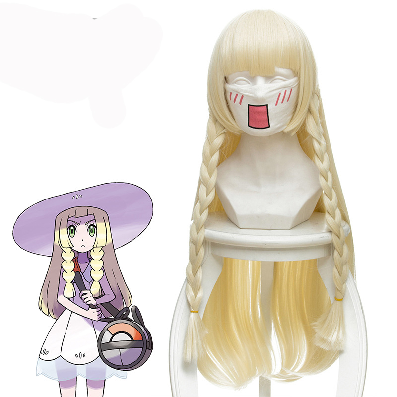 2018 New Japanese Game Pokemon Sun Moon Lillie Cosplay Wig 80 cm 31.5 Long Straight Anime Wig Synthetic Hair Braided Gold