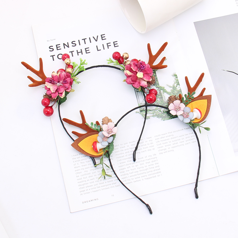 Christmas Masquerade Party Princess Queen Lace Hollow Hairbands Halloween Forest Antlers Hairwear