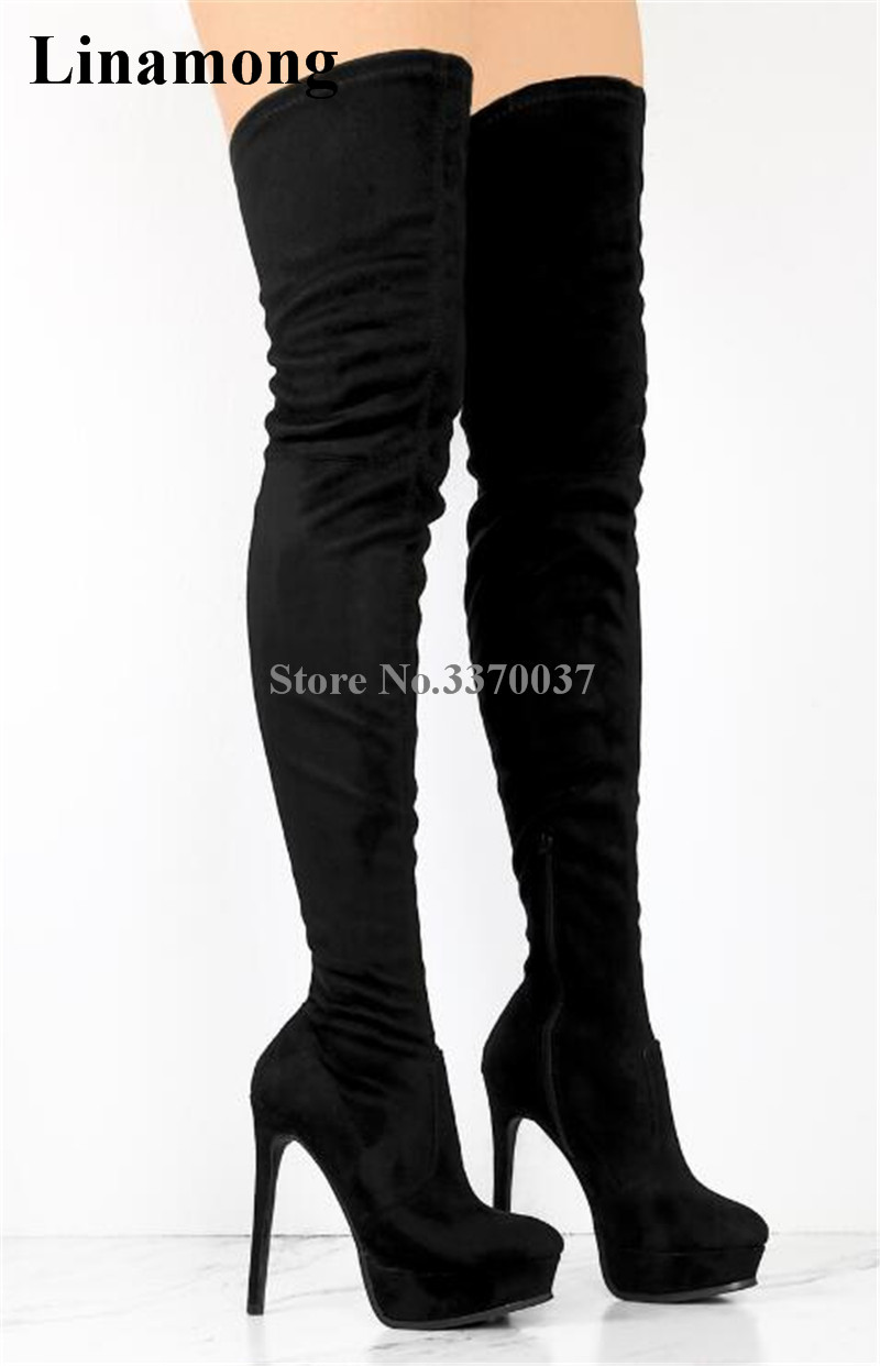 Winter Fashion Round Toe Black Suede Leather High Platform Over Knee Boots Super High Heel Boots Slim Thigh Heel Boots women sexy black leather suede round toe high platform over knee rivet boots slim style thigh high thin heel long high heel boot