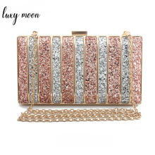 Luxy Moon Panelled Sequin Clutch Purse Rhinestones Evening Bag for Women High Quality Bridesmaid Chain Bags bolso mujer purse