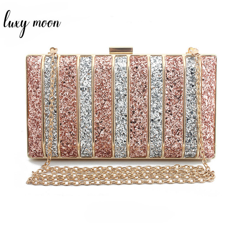 Luxy Moon Panelled Sequin Clutch Purse Rhinestones Evening Bag For Women High Quality Chain Bags Bolso Mujer Purse ZD1001