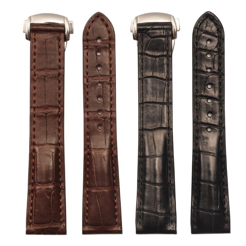 где купить  Men's Watch Band For Omega De Ville Hippocampus Alligator Leather Strap Watches Straps For Men 19 20 mm Black Bracelet Belt  по лучшей цене