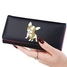 Купить с кэшбэком Lady Purses Lovely Dog Coin Purse Pockets Long Short Women Wallets Girls Money Bags Cards Holder Bag Notecase Woman Wallet Pouch