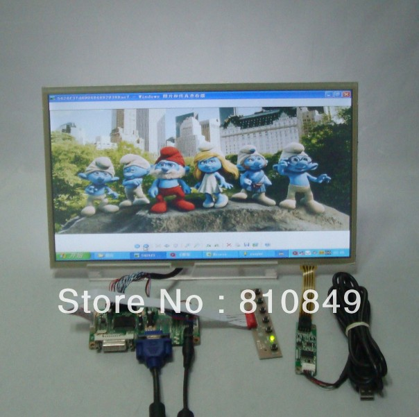 DVI+VGA Lcd Control board+14inch 1366*768 lcd panel LTN140AT07 Lcd +Touch Screen LTN140AT02 LTN140AT07 LP140WH1 BT140XW02 8 4 8inch non touch industrial control lcd monitor display vga dvi interface metal shell fixed ear installation 4 3