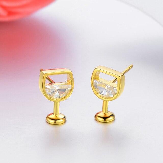 Moda simples brincos femininos oco vidro de vinho cúbico zircônia orelha brincos brincos jóias presentes 4