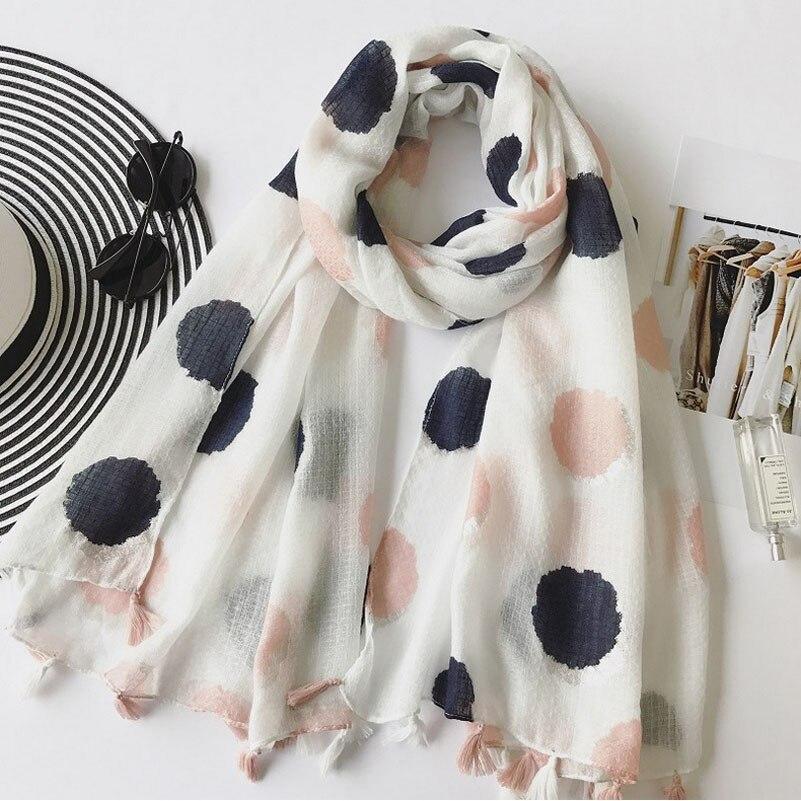Autumn Fashion Twill Cotton Scarf Women Long Tassels Scarf Shawls Fresh Pink Blue Dot Print Scarf Wraps 180*100cm