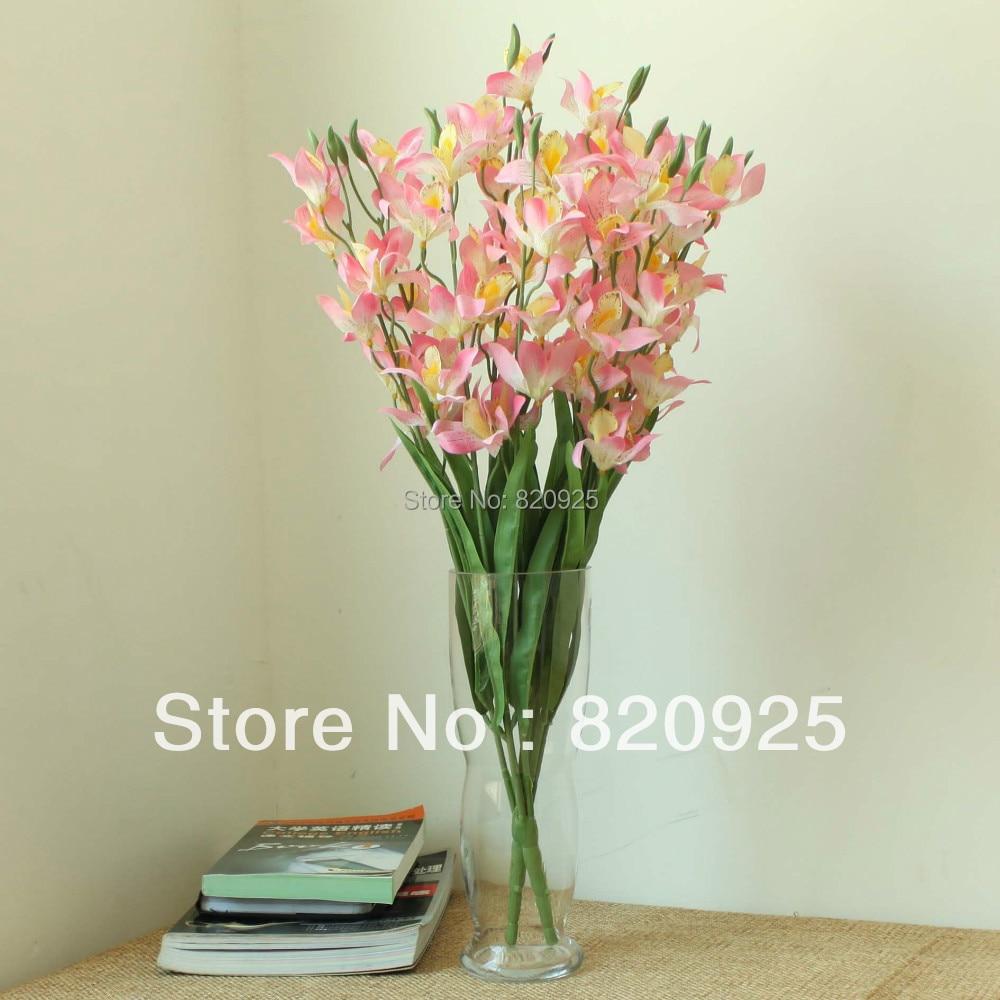 2 x Pink Orchid Individual Tallos Arreglos Florales de La Boda de