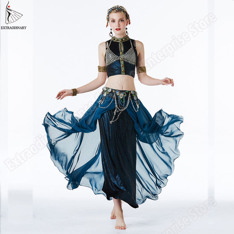 New Women Gypsy Top Belly Dance ATS Tribal Costume Suit Set Bra Skirt Bead Dress Stage Performance