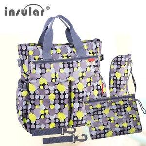 Image 4 - 섬insu한 다채로운 아기 기저귀 가방 기저귀 유모차 가방 방수 엄마 변경 가방 다기능 엄마 토트 백