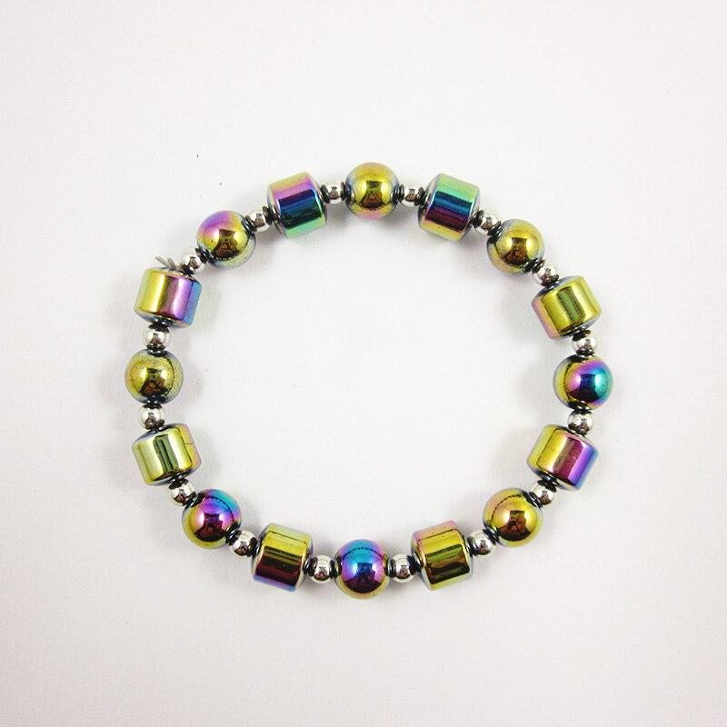 Hematite Beaded Rainbow color Round Beads Strand Bracelet for Women Birthday Gift HB1053-2